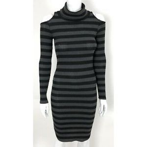 Solemio long sleeve shoulder cutout dress